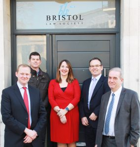 (L to r): Steve Schofield (Thrings); Chris Randall (Lancer Scott); Becky Moyce (Bristol Law Society); Paul McCluskey (Lloyds Bank); and Duncan Edler (Lloyds Bank)
